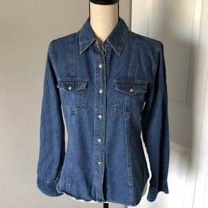 AT LAST BLUSE  LADY DENIM SHIRT